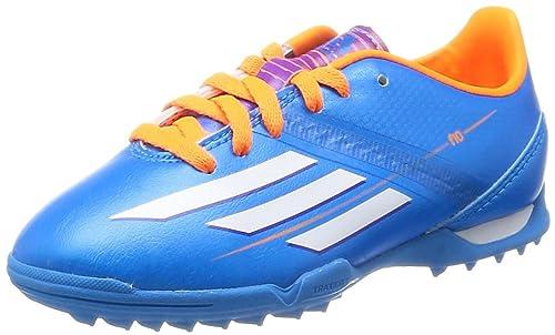 adidas Kids Astro Turf Soccer Trainers F10 TRX TF J-Blue-3.5