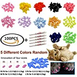 JOYJULY 100pcs(5 sets) Soft Pet Cat Nail Caps Claws Control Paws Of 5 Different Colors Caps+ 5 Adhesive Glue - Cat Nail Caps Medium