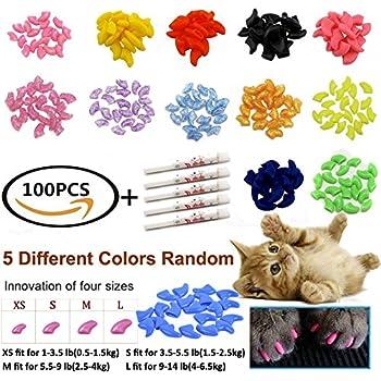 JOYJULY 100pcs(5 sets) Soft Pet Cat Nail Caps Claws Control Paws Of 5 Different Colors Caps+ 5 Adhesive Glue, Cat Nail Caps Medium