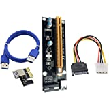 Covermason USB3.0 PCI-E Express 1x To 16x Extender Riser Card Adapter SATA 6Pin Cable (G)