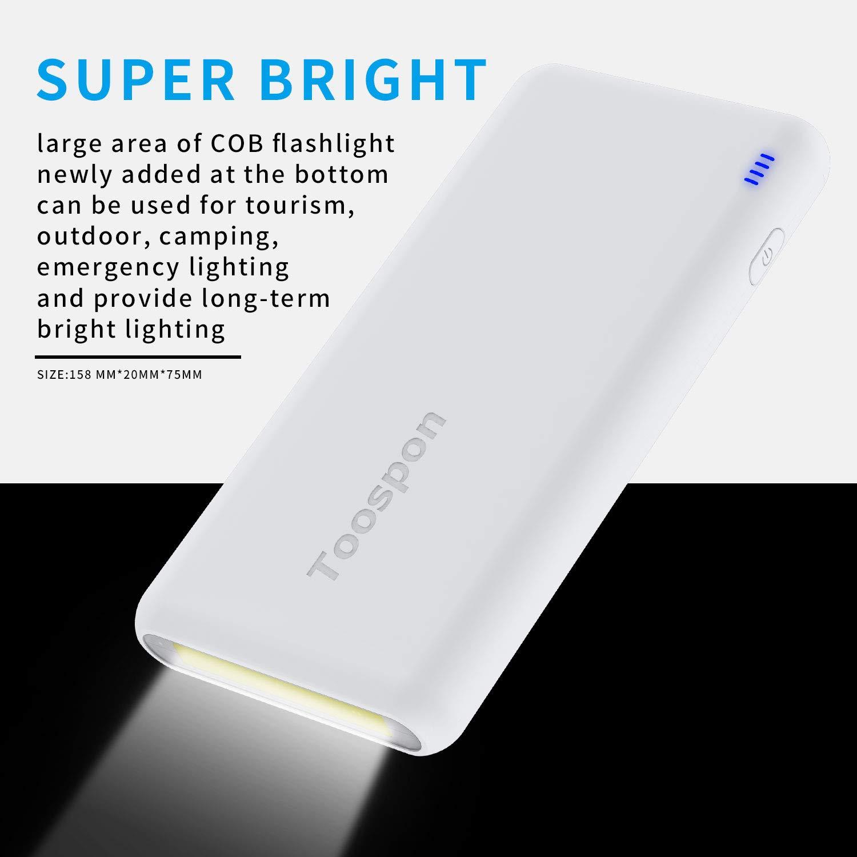 4USB Portable Charger 30000mAh Super Bright Flashlight Quick Charge Phones USB Power Banks White/_30000mAh/_