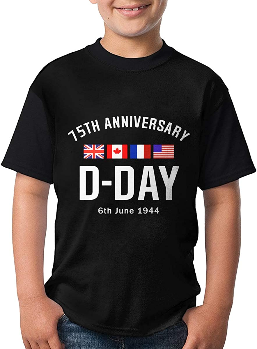 D Day 75th Anniversary Short Sleeve Tops Classic Crew Neck Tee for Teenagers