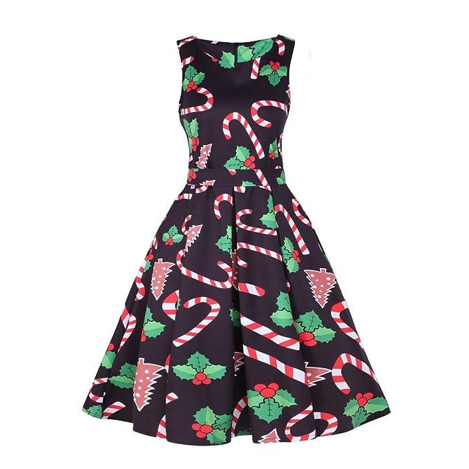 Fimkaul Vintage Classy Christmas Sleeveless Xmas Party Dress
