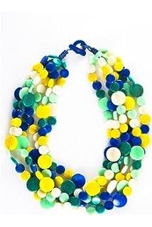 Organic Tagua Nut Lolita Multi-Strand Necklace - Seaglass Combo