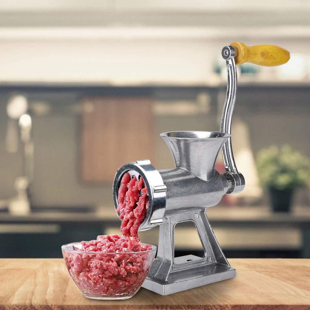 carne de res Plata acero inoxidable Picadora de carne manual M/áquina de llenado de salchichas con mango de madera para pimiento Picadora de carne manual vegetales cerdo