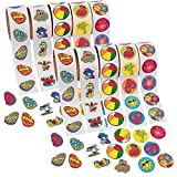 FX Inc. 1000 (10 Rolls) TROPICAL Stickers/HIBISCUS/FLIP FLOP/BEACH BALL/SEA CREATURES/LUAU PARTY Theme/FAVORS/DECOR