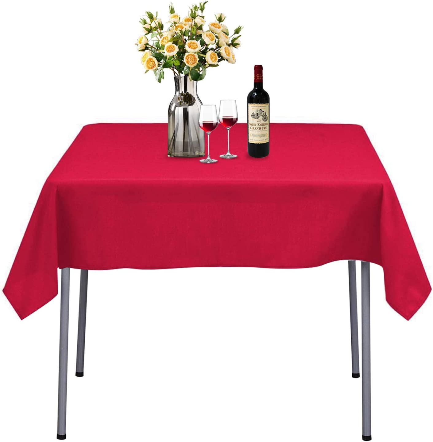 54 x 54-Inch Seamless Pink Rectangular Polyester Tablecloth for Wedding Party Decorations Square Table Cloth Cover