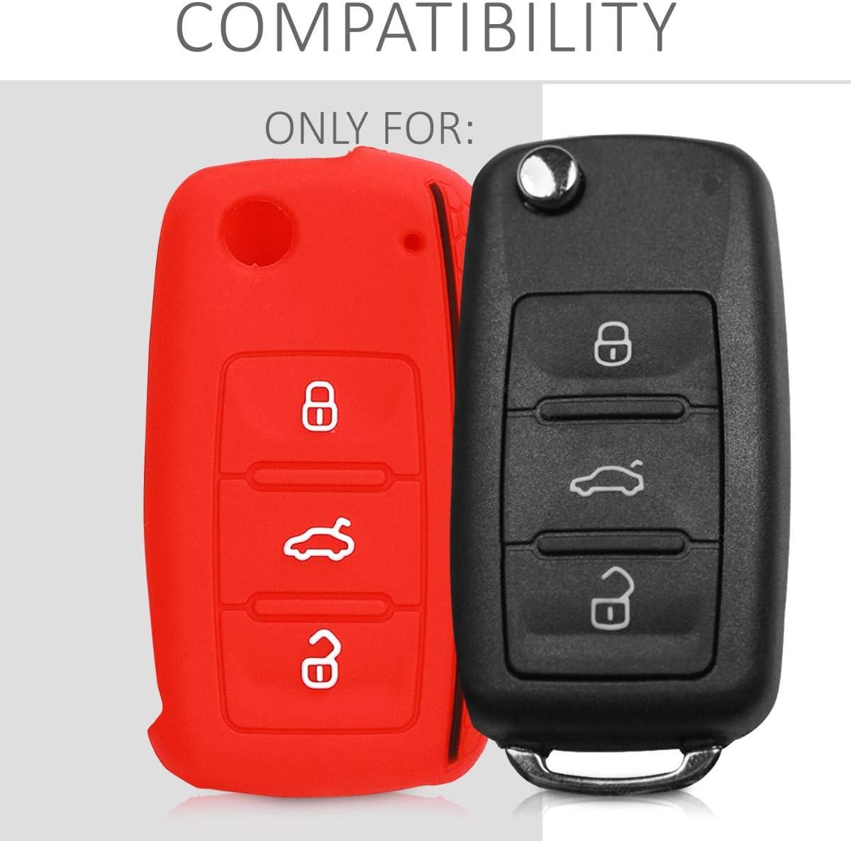 kwmobile Car Key Cover for VW Skoda Seat Silicone Protective Key Fob Cover for VW Skoda SEAT 3 Button Car Key Pastel Purple//Light Pink