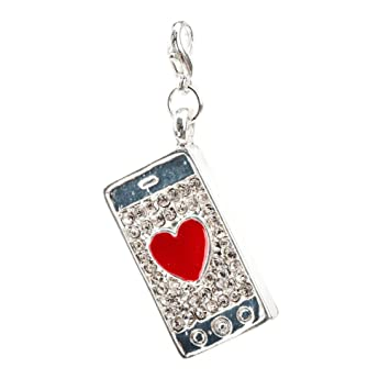 Amazing Fashionable Silver Colored Phone Card Shaped Clip On Pendant Charm For Bracelets Bangles With Red Heart And Rhinestones Crystals Gemstones By VAGA