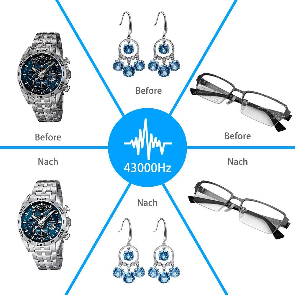 VEEAPE pr/ótesis dentales Limpiador por ultrasonidos relojes para gafas 600 ml, con soporte para relojes y cesta de limpieza, ba/ño ultras/ónico de 5 etapas, temporizador 43000 Hz joyas