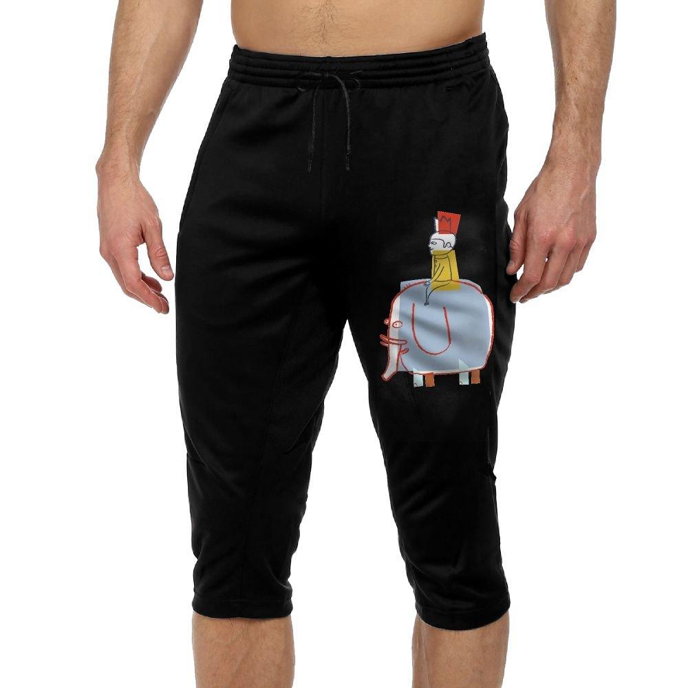 Men's Novelty Performance Cute Elephant Print Crop Sweatpant Capri Pants Drawstring Knee Pant Black Small