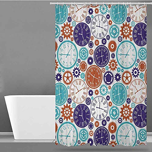ONECUTE Polyester Shower Curtain,Clock Vintage Clock Mechanism Roman Numbers Hour and Minute Hand Pattern Print,for Master, Kid's, Guest Bathroom,W48x72L Blue and Dark Orange