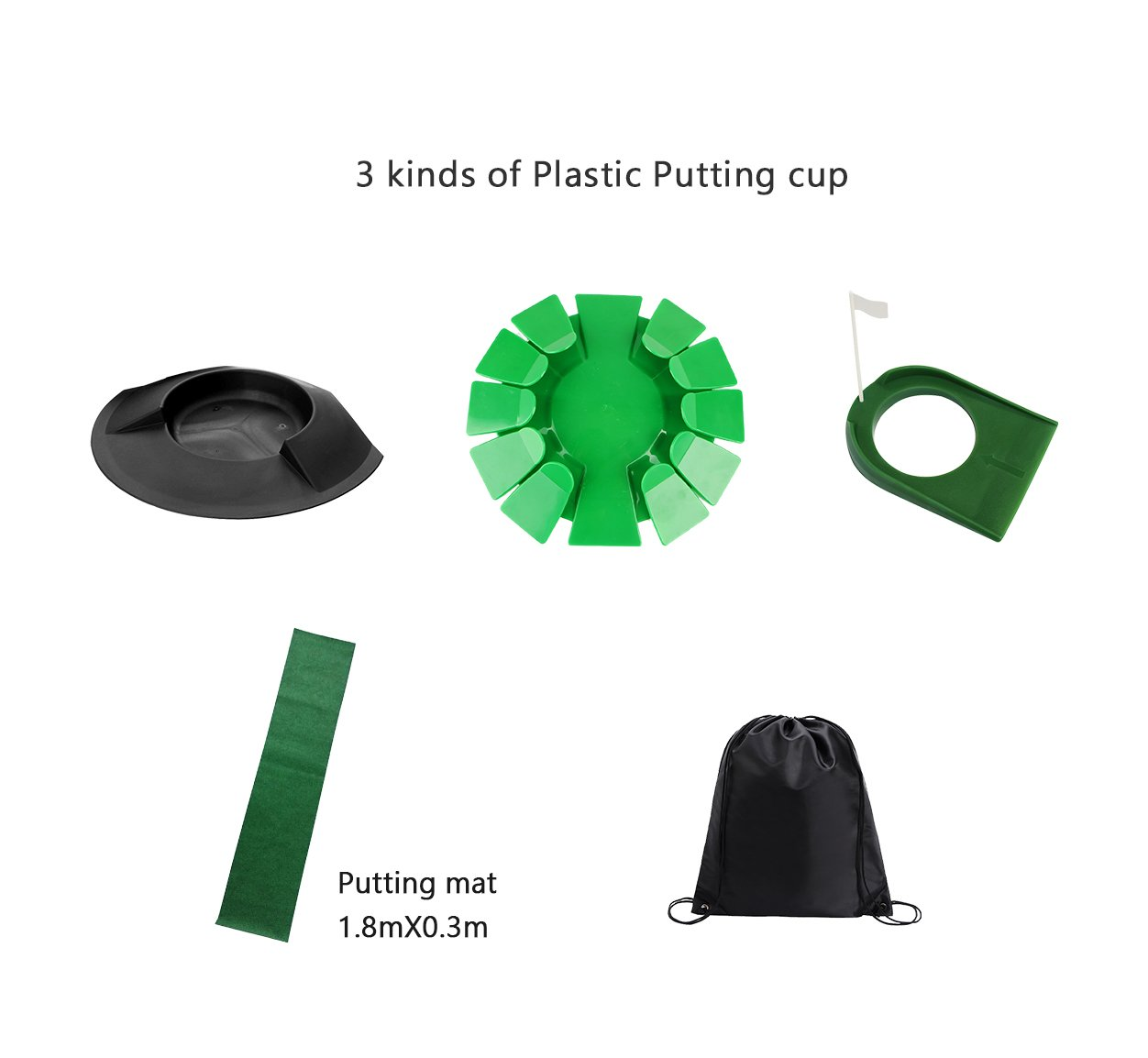 POSMA PHS006 Plastic Practice Putting Cup Golf Hole Training Aid Indoor/Outdoor Bundle set with 3 kinds of Plastic Putting cup+1.8m x 0.3m Putting Mat+1 set of Detachable putter+Black cinch sack bag