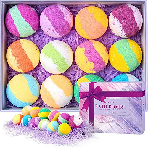 (Aprilis 12 Bath Bombs Gift Set, Natural Bath Bomb Kit with Different Organic Essential Oils, Perfect Birthday Gift Idea For Her, Women, Teen Girls and Kids)