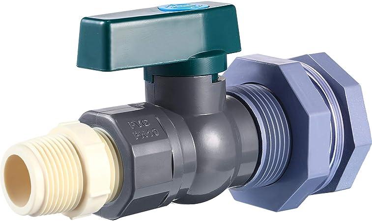 Mudder PVC Spigot Rain Barrel Faucet Kit 3/4 Inch PVC Rain Barrel Valve with Bulkhead Fitting and Hose Adapter, Rain Barrel Garden Spigot Kit for Aquariums Water Tanks Pools