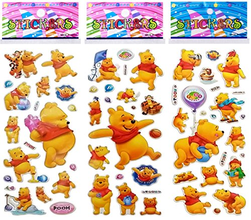 6 Sheets Puffy Dimensional Scrapbooking Party Favor Stickers + 18 FREE Scratch and Sniff Stickers - WINNIE THE POOH