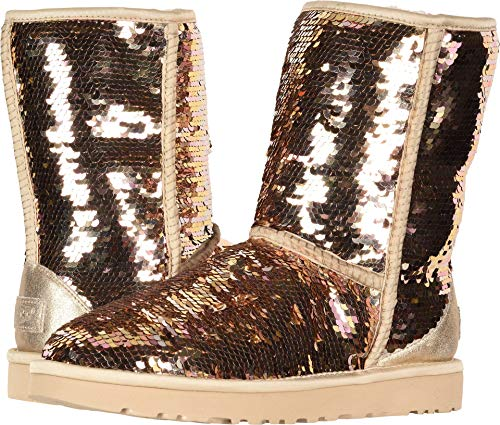 UGG Women's W Classic Short Sequin Fashion Boot, Gold Combo,