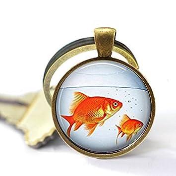 Llavero con forma de cuenco de peces, color dorado, para acuario, peces dorados, llavero: Amazon.es: Hogar