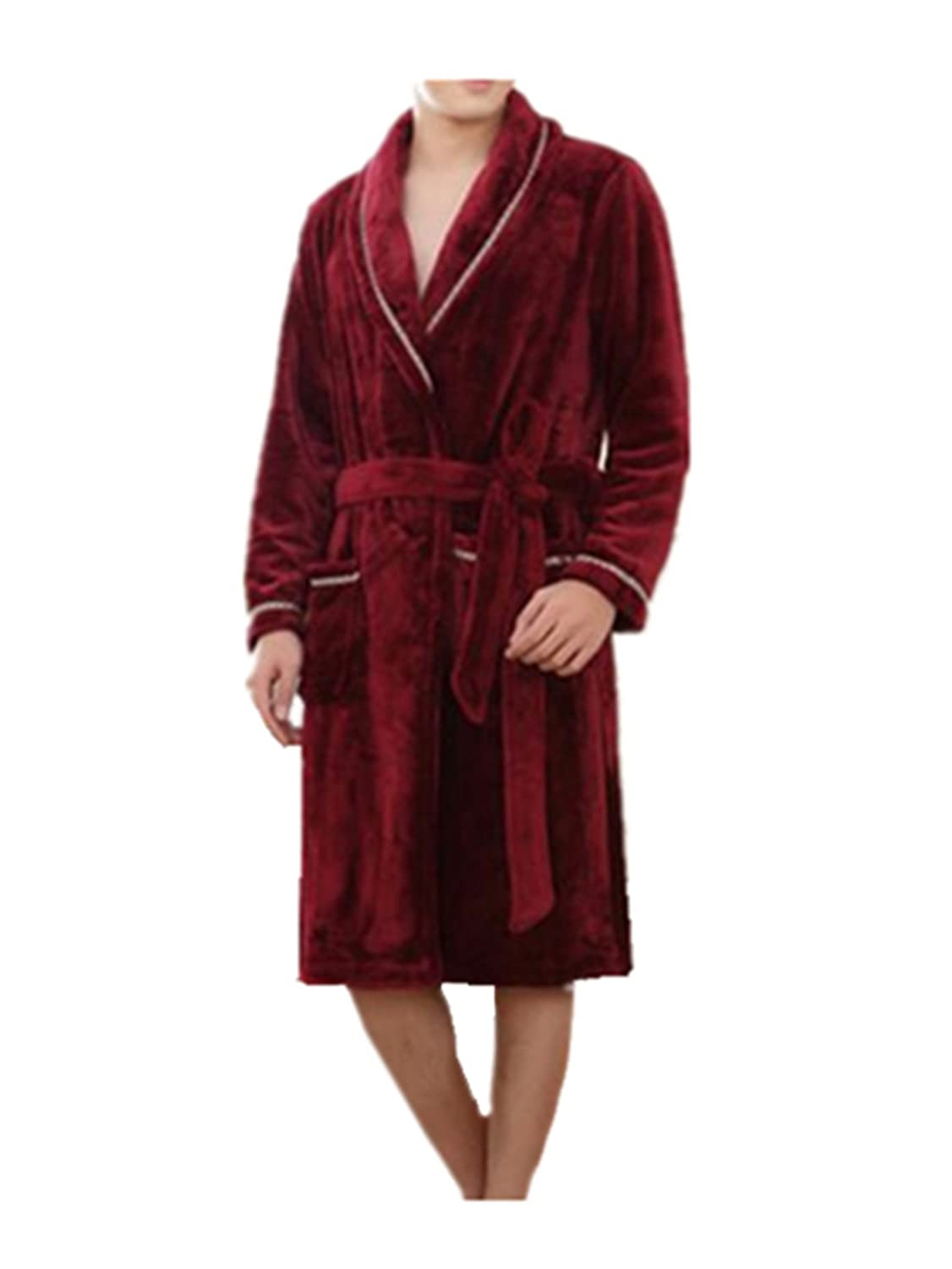 Leright Mens Flannel Kimono Robe Plush Luxury Sleepwear Long Spa Bathrobes at Amazon Mens Clothing store:
