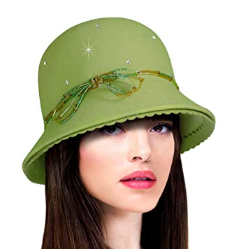 f4c0dee315a29 Cashmere Soft Felt Bell Cloche Bucket Style Hat - 47800RS at Amazon ...