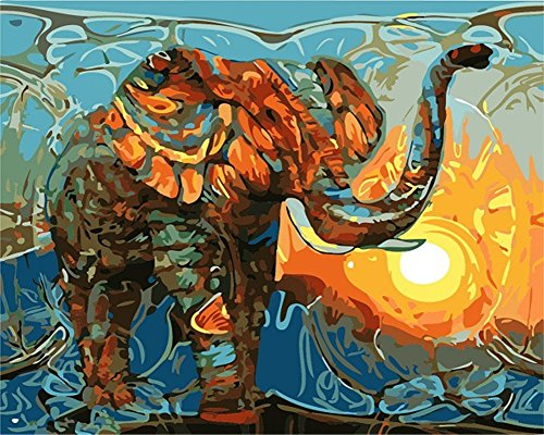 CaptainCrafts New Diy Paint by Numbers 16x20 for Adults Beginner Child, Kids LINEN Canvas - Color Painting Elephant (With -