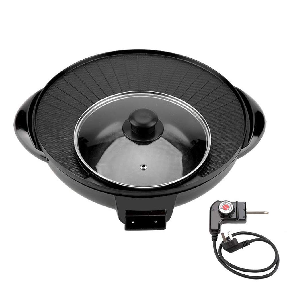 Korean Style BBQ Poke Hot Pot Dual Pot Barbecue Machine, 1500W 2 in 1 Electric Pan Hot Pot BBQ Frying Cook Grill with Adjustable Hot by ankt777