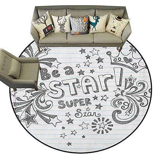 Teen Room,Woman Yoga Mat Be A Super Star Phrase on a Notebook Paper Backdrop with Stars and Crown Print D54 Round Rug Non-Slip Crawling Carpet
