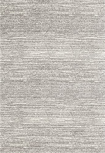 ADGO Ravenna Collection Modern Contemporary Striped Design Live Vivid Color Jute Backed Area Rugs Tall Pile Height Soft and Fluffy Indoor Floor Rug, Grey Ivory, 8 x 10