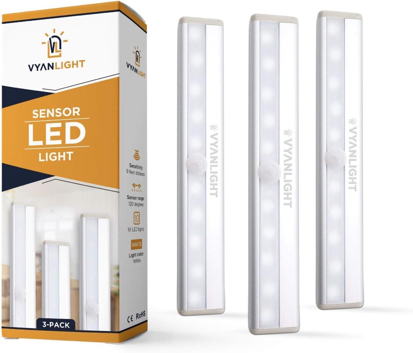 Best Budget Motion Sensor Led Bar: Vyanlight [10 LED] AAA Battery Operated