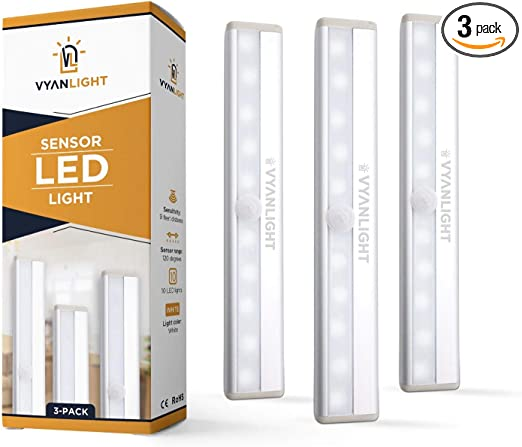 LED Closet Light Motion Activated, Under Cabinet Lights, Homelife Motion Sensor LED Lights, Stick-on Anywhere Battery Operated 10 LED Motion Sensor Night Light for Closet Hallway Stairway (3 Pack)