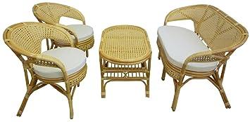 Savino Filippo Juego Completo salón de Mimbre Bambú y ...