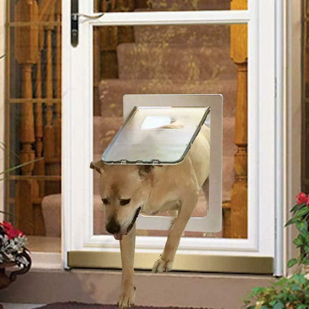 ANQI - Puerta magnética grande para perro, con cierre automático, para puerta de entrada para mascotas, fácil de instalar, todo tipo de clima, L, color negro