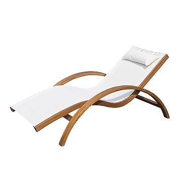 tumbona tipo hamaca para jardn terraza playa piscina o patio 165x72x70cm color blanco hecha de madera - Tumbonas De Jardin
