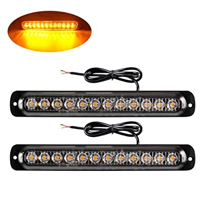 Yifengshun 2pcs Amber 12LED Strobe Lights for Trucks Emergency Warning Caution Flashing Lights Bar Hazard Beacon Recovery Surface Mount for Vehicle Motorcycle: Automotive