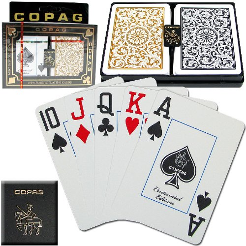 (Copag Playing Card Set, Black and Gold Poker Size, Jumbo Index. 100% Plastic Playing Cards)
