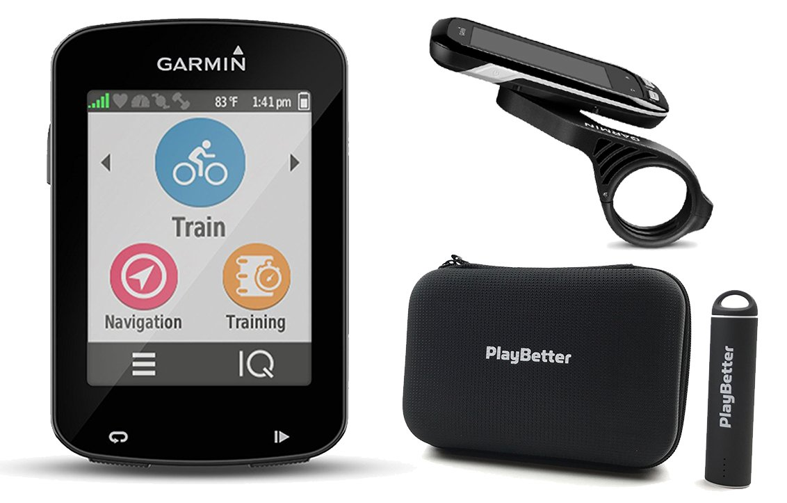 Garmin Edge 820 with PlayBetter Portable USB Charger, Hard Carrying Case, Bike Mounts, USB Cable POWER BUNDLE | Hi-Res Touchscreen Display, Advanced Performance Metrics | GPS Bike Computer by PlayBetter