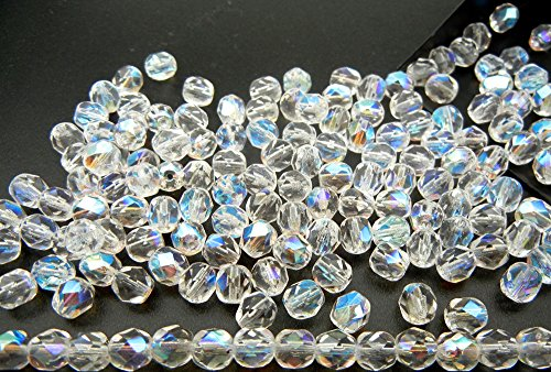 8mm, 150pcs, Crystal AB, Preciosa Czech Fire Polished Round Faceted Glass Beads, Aurore (Round Firepolish Czech Glass Beads)