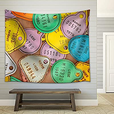 Alluring Visual, Old Colorful Bicycle Tax License Plates from Belgium Fabric Wall, Made For You