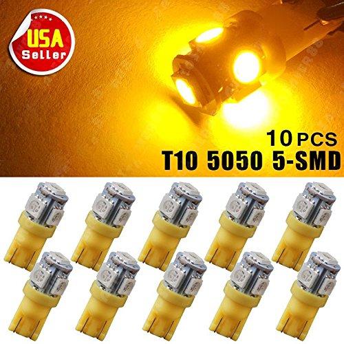 Cross Yellow Amber - Focuslife 10X Car T10 Amber/Yellow LED 5050 5smd Wedge Light Bulb W5W 194 168 2825 158 192