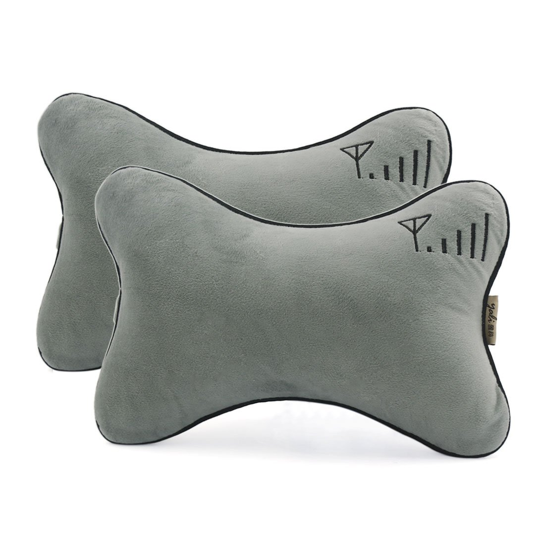 uxcell 2 Pcs Memory Foam Neck Pillow Car Seat Head Support Cushion Pad Gray
