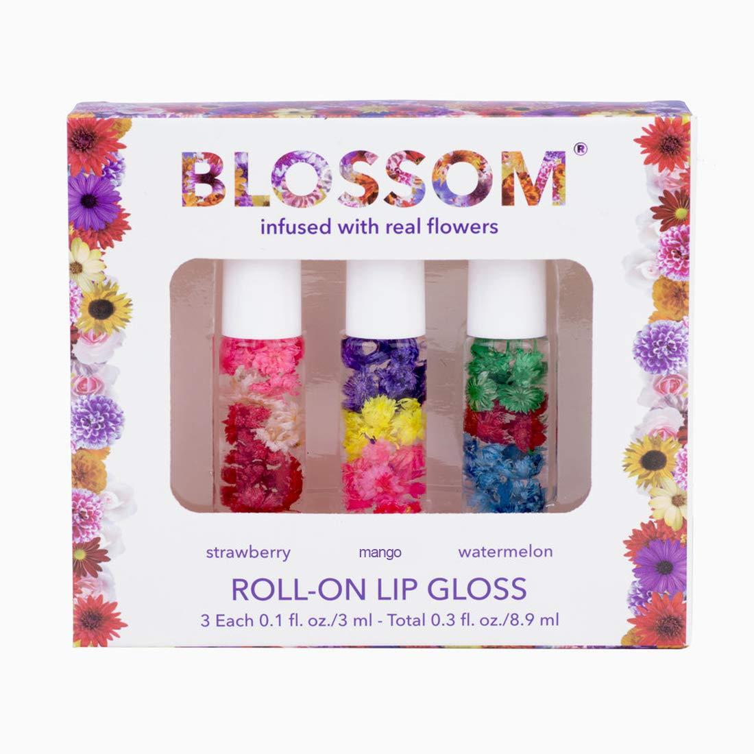 Blossom Roll-On LIP GLOSS Set Strawberry/Mango/Watermelon by Blossom