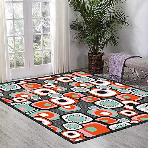 Country Floor Rug Funky Square Shaped Lava Flowers with Abstract Inner Forms Print for Various Areas 35.43 Inch x 47.24 Inch Mint Baby Pink Orange - Flooring Stone Lava