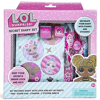 "Girl Thoughts Secret Diary with Lock and Keys for Kids – 7"" Journal Lined Notebook with Stamps, Stickers and Pen: Toys & Games"
