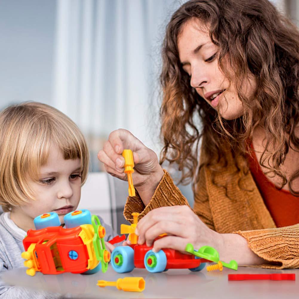 Nuheby Jeu Construction Voiture Enfant avec Course Voiture Jeu Assemblage Jeux Motricité Fine Jeux Educatif Enfant Garcon Fille 3 4 5 Ans