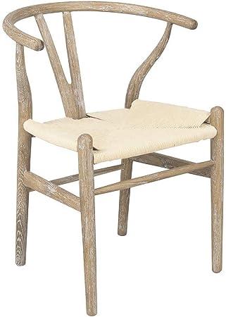 Silla wishbone roble de madera y mimbre estilo vintage rústico