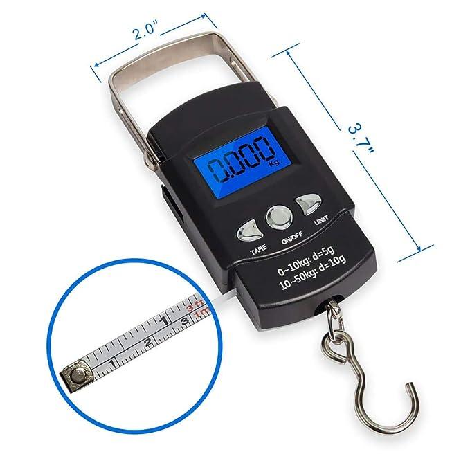 Refaxi Balanzas Electrónicas Portátiles Con Cinta Métrica LCD Scale Fish: Amazon.es: Belleza