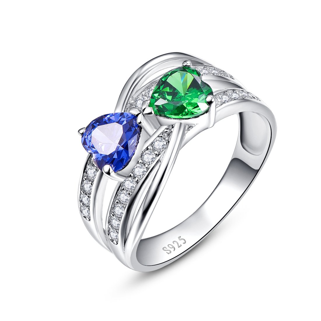 Merthus Womens 925 Sterling Silver Created Tanzanite & Emerald Double Heart Twisted Band Ring