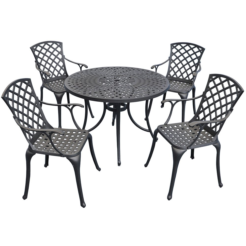 Amazon.com: Crosley Furniture Sedona 42 Inch Five Piece Cast Aluminum  Outdoor Dining Set With High Back Arm Chairs In Black Finish: Kitchen U0026  Dining