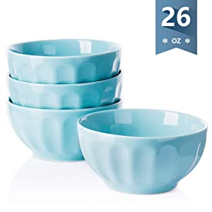 Sweese 1143 Porcelain Fluted Bowls - 26 Ounce for Cereal, Soup and Fruit - Set of 4, Turquoise
