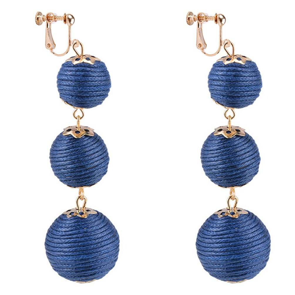 Dangle Earring Clip on Screw Back Converter Thread Ball Tassel Bohemia for Women Fashion Navy